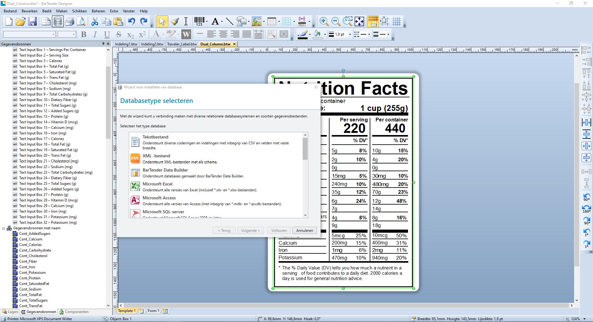 Screenshot Bartender Database invoer
